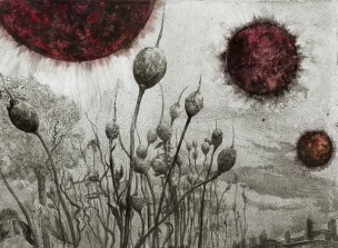 Burnt Black Suns by Santiago Caruso  Ink & scratch over plastered cardboard  2014